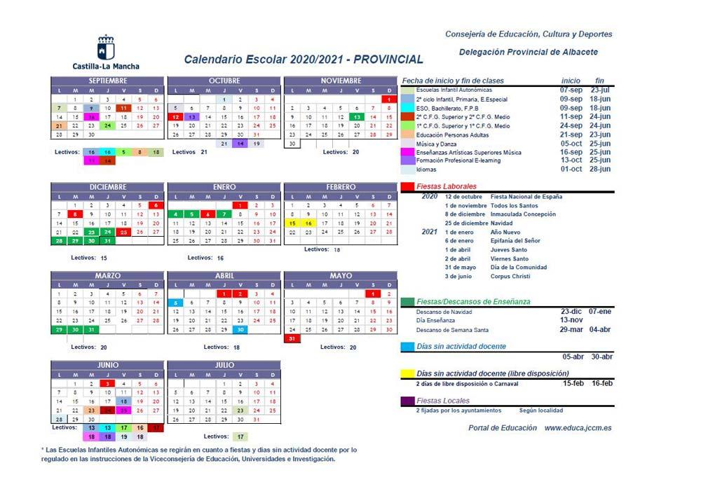 Calendario Escolar Albacete 2020/2021